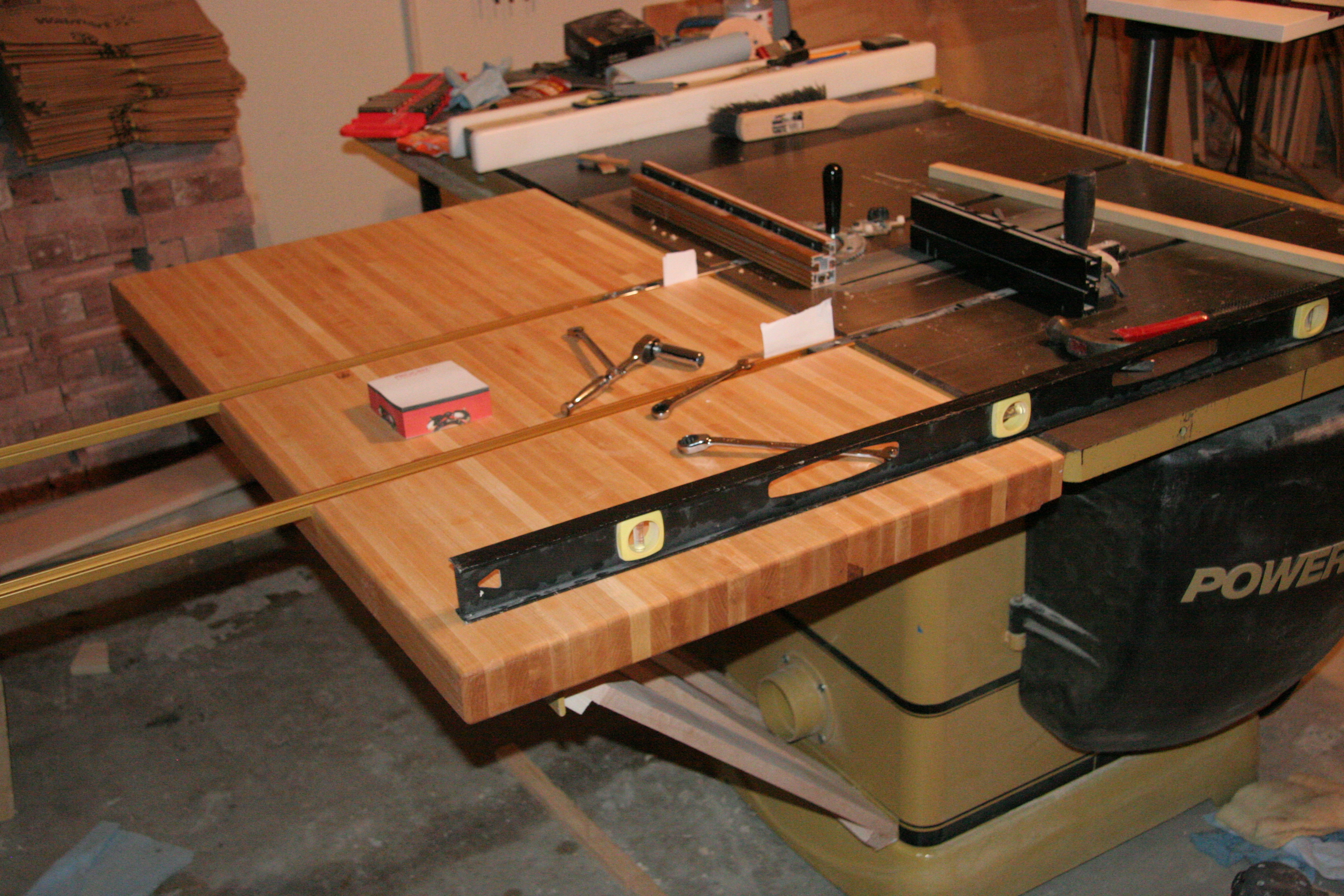 Custom Table Saw Outfeed Table  Pocket Holes n Biscuits